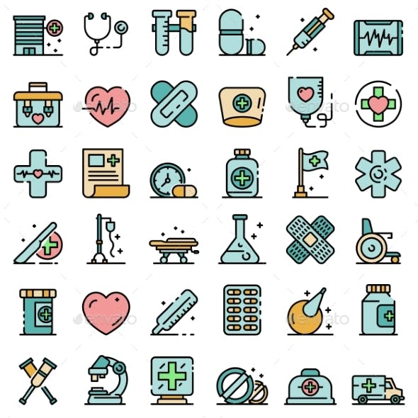 First Medical Aid Icons Vector Flat