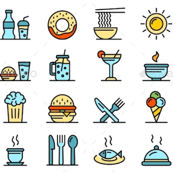 Food Courts Icons Vector Flat