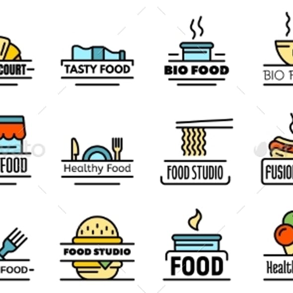 Food Courts Breakfast Logo Vector Flat