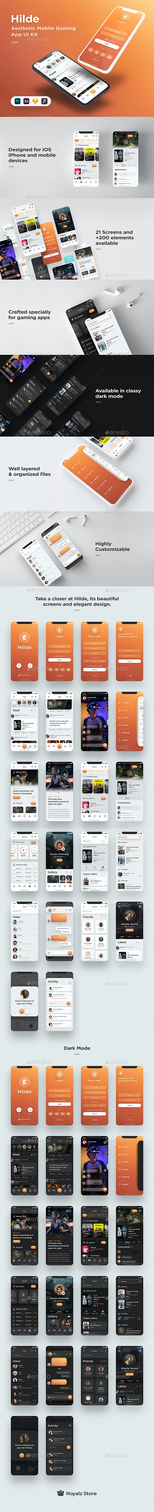 Hilde - Gaming App UI Kit - Available for Figma, Sketch, XD & Photoshop - User Interfaces Web Elements