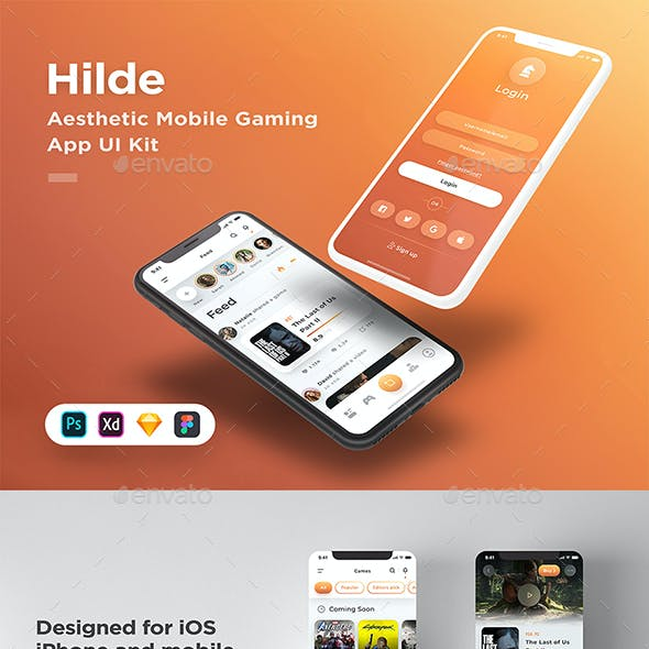 Hilde - Gaming App UI Kit - Available for Figma, Sketch, XD & Photoshop