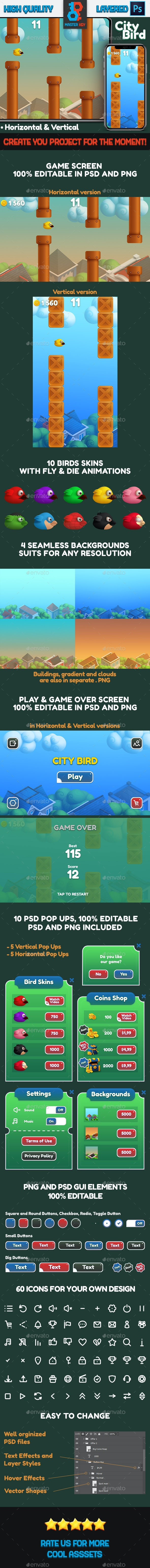 City Bird Game Asset - Game Kits Game Assets