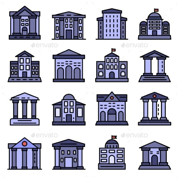 Courthouse Icons Set Vector Flat