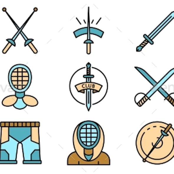 Fencing Icons Set Vector Flat