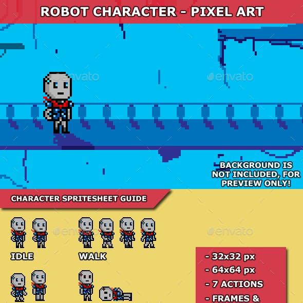 Robot Character Pixel Art