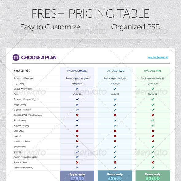 Fresh Pricing Table