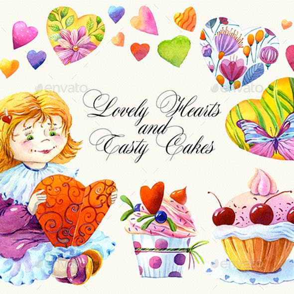 Watercolor Clipart, Lovely Hearts and Tasty Cakes Collection, 1200dpi