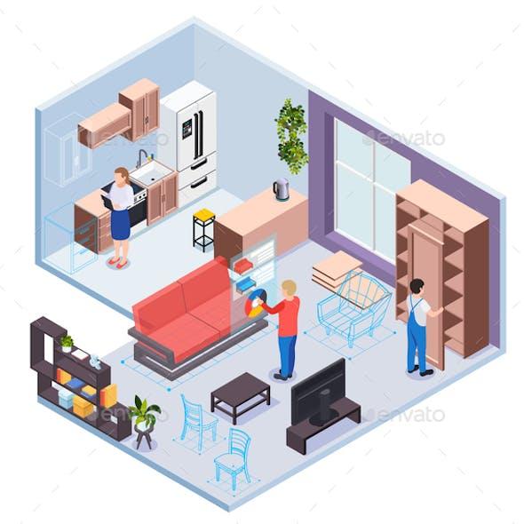 Furniture  Showroom Isometric Design Concept