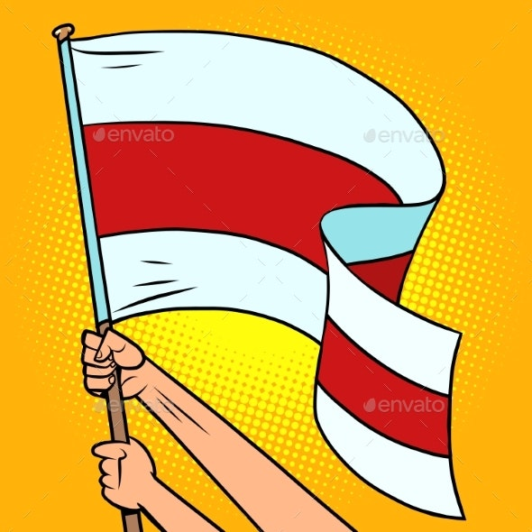 Red and White Flag of Belarus in the Hands - Miscellaneous Vectors