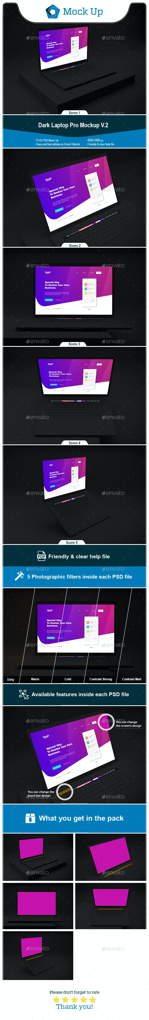 Dark Laptop Pro Mockup V.2 - Laptop Displays