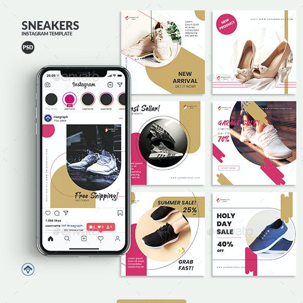 Sneakers - Product Promotion Instagram Post Template