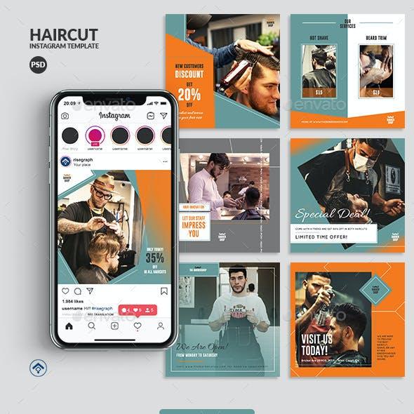 Haircut - Barbershop Instagram Post Template