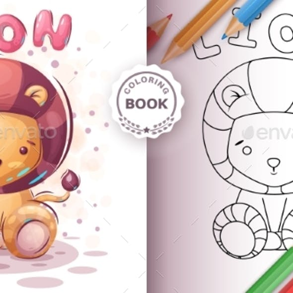 Teddy Lion - Coloring Book for Kid and Children