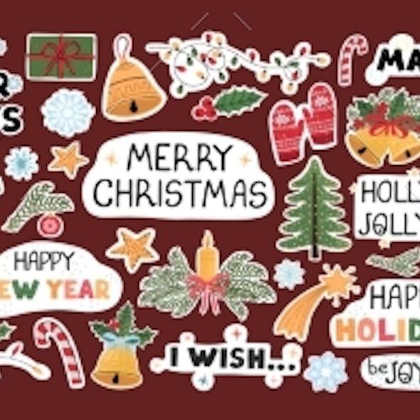 Christmas Modern Set of Stickers