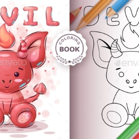 Devil - Coloring Book for Kid and Children