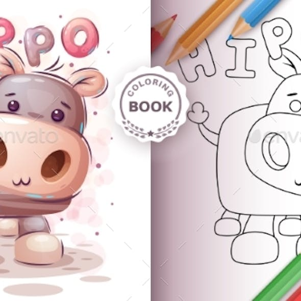 Teddy Hippo - Coloring Book for Kid and Children
