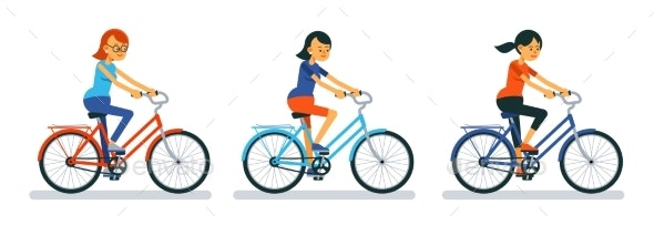 Girl on Bike. Woman Cyclist on Bicycle Cartoon - Sports/Activity Conceptual