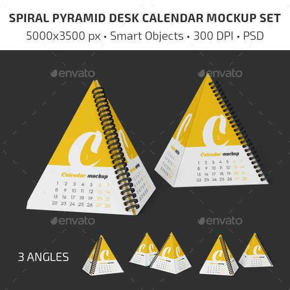 Spiral Pyramid Desk Calendar Mockup Set