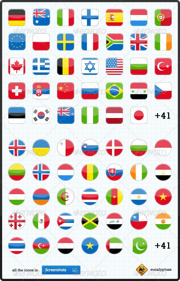 75 Flags Icons - Web Icons