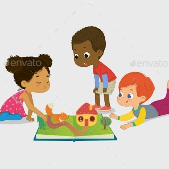 African Girl Tells Fairy Tales To Her Friends