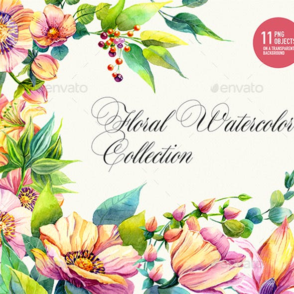Watercolor Floral Collection, real painted clipart, 1200dpi