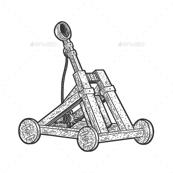 Catapult Ballistic Device Sketch Vector