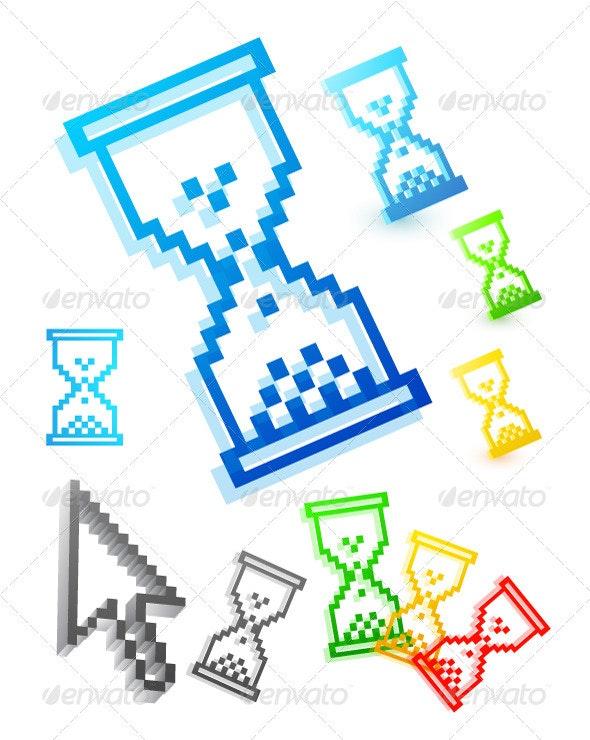 Pixelated Hourglass Web Icons
