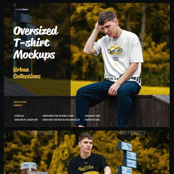 6 Oversized T-shirt Mockup Urban Style
