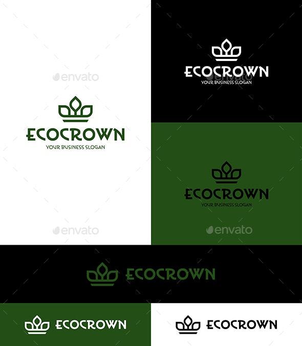 Eco Crown Minimalistic Logo - Nature Logo Templates