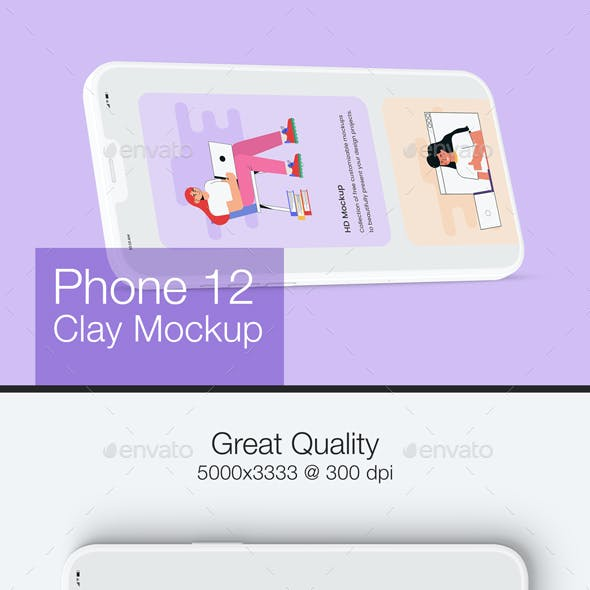 Phone 12 Clay Mockup