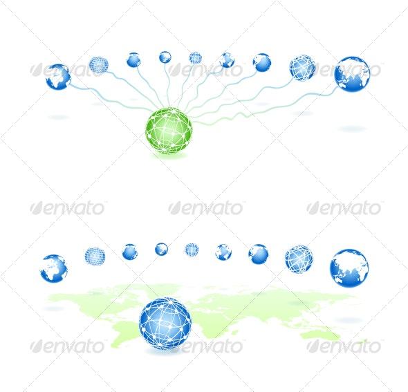 Set global spheres on a map - Web Technology