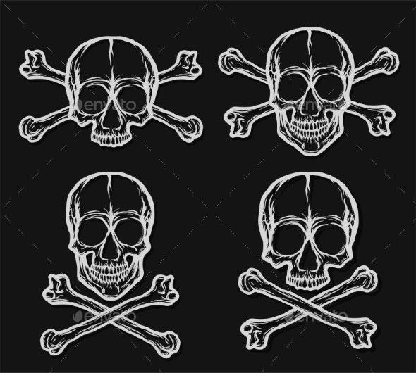 Human Skulls with Crossbones Vector Set on Black - Miscellaneous Vectors