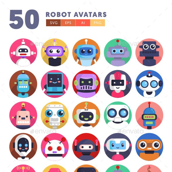 50 Robot Avatar Icons