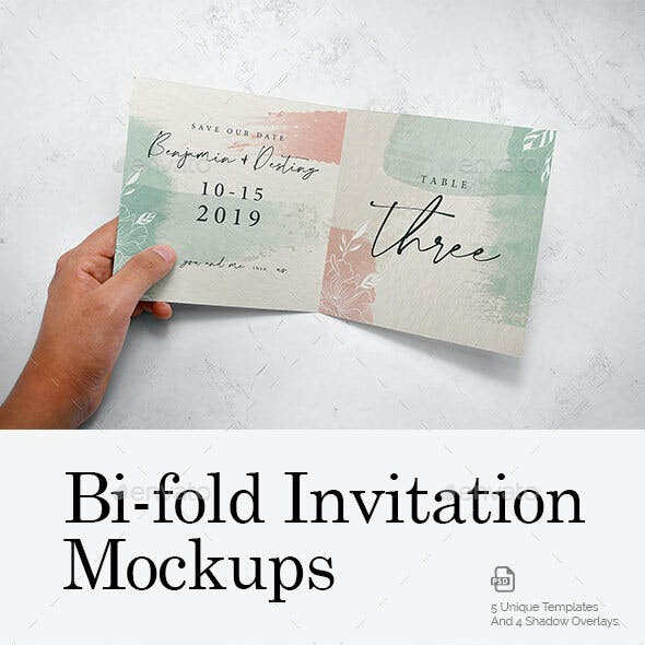 Square Bi-Fold Invitation Mockups