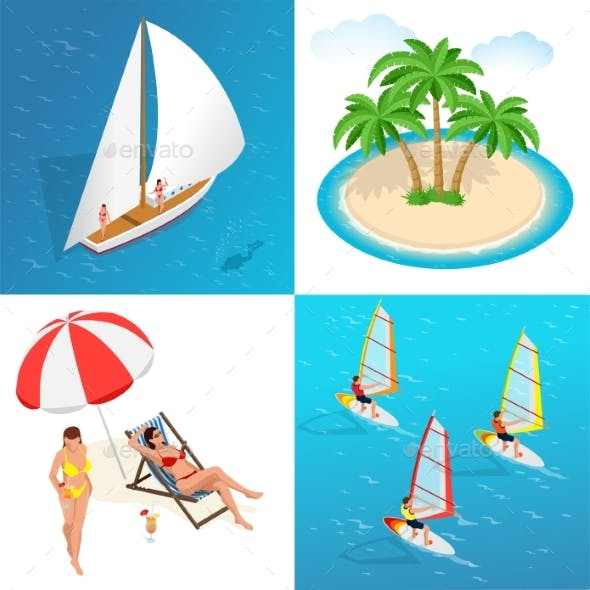 Isometric 2X2 Design Concept Summer Holiday
