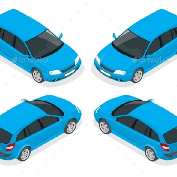 Isometric Hatchback Car