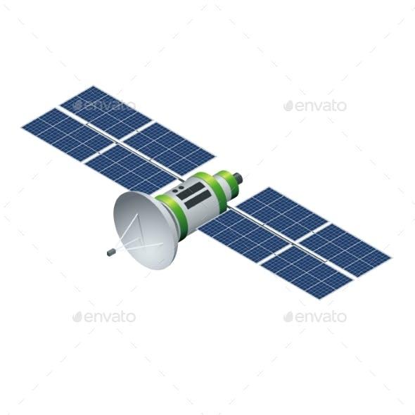 GPS Satellite. Orbiting Satellite Isolated on