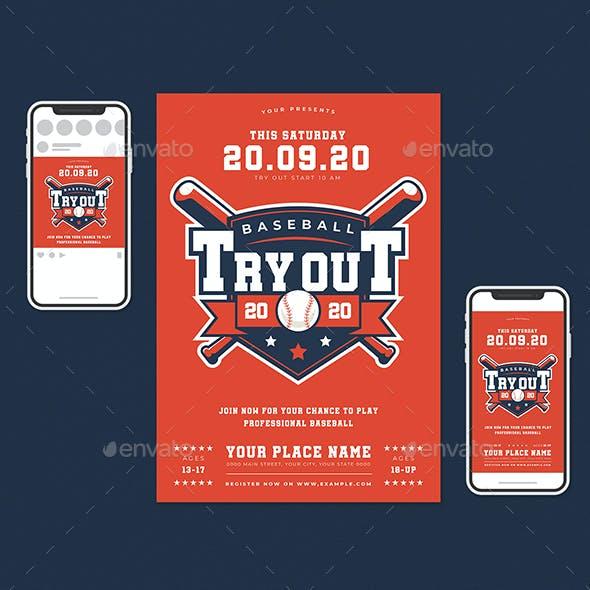Baseball Tryout Flyer Set