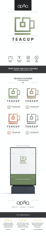 Square Tea Cup Logo - Food Logo Templates