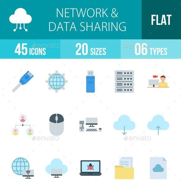 Network and Data Sharing Flat Icons