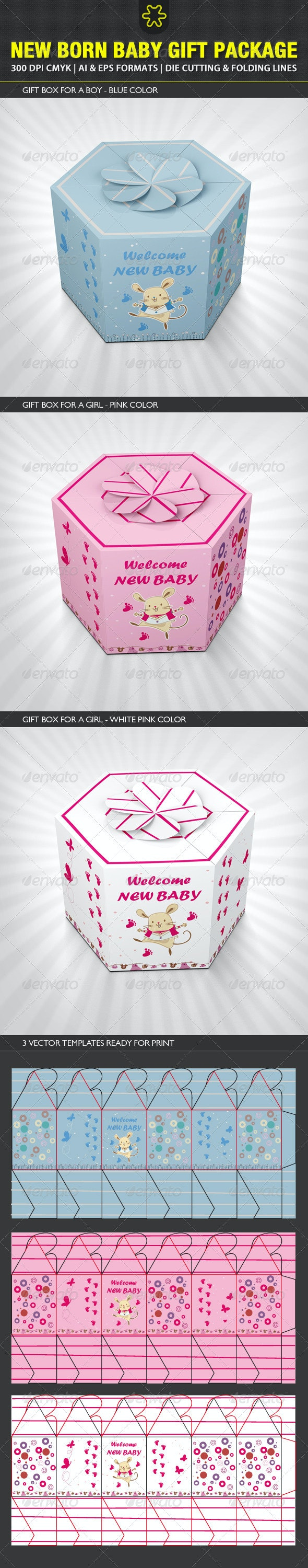 New born Baby Gift Package - Packaging Print Templates