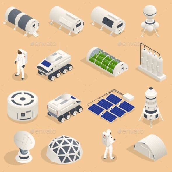 Isometric Set of Icons Space Equipment and