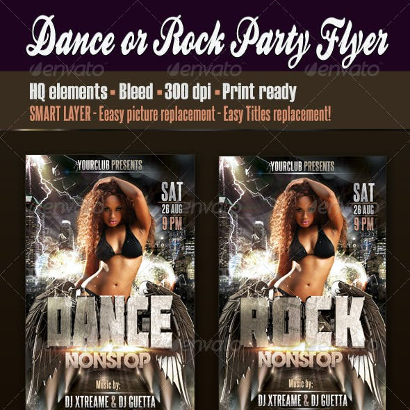Dance Or Rock Party Flyer
