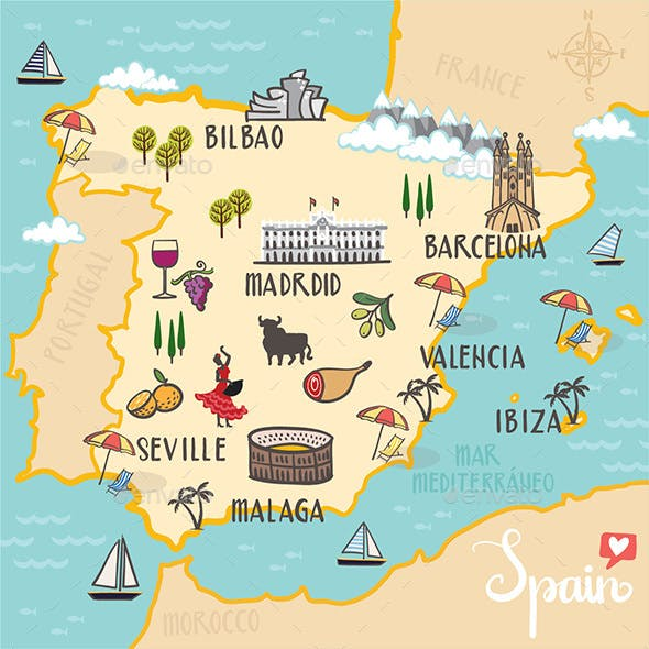 Spain - Illustrated Map