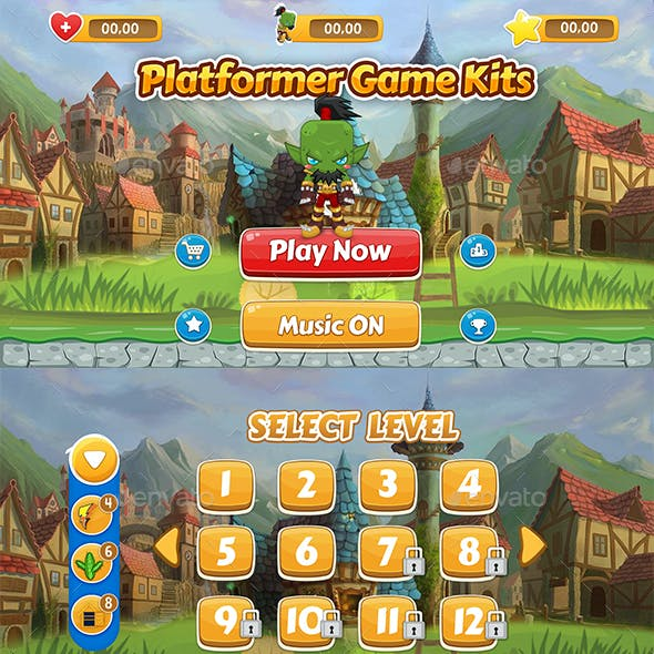 Platformer Games UI Kit