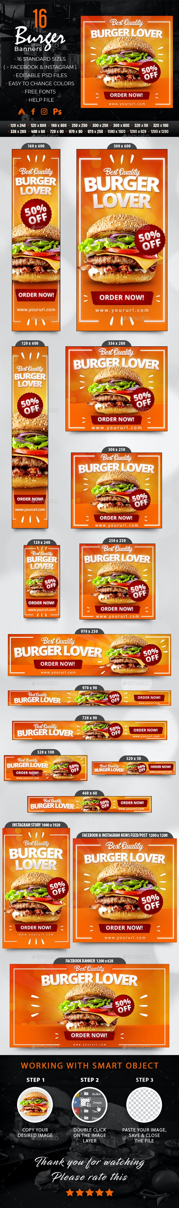 Burger Banners - Banners & Ads Web Elements