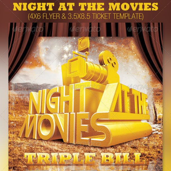 Night at the Movies Church Flyer and Ticket