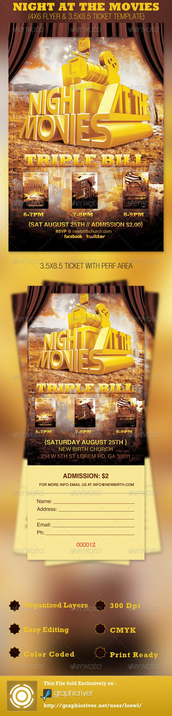 Night at the Movies Church Flyer and Ticket - Church Flyers