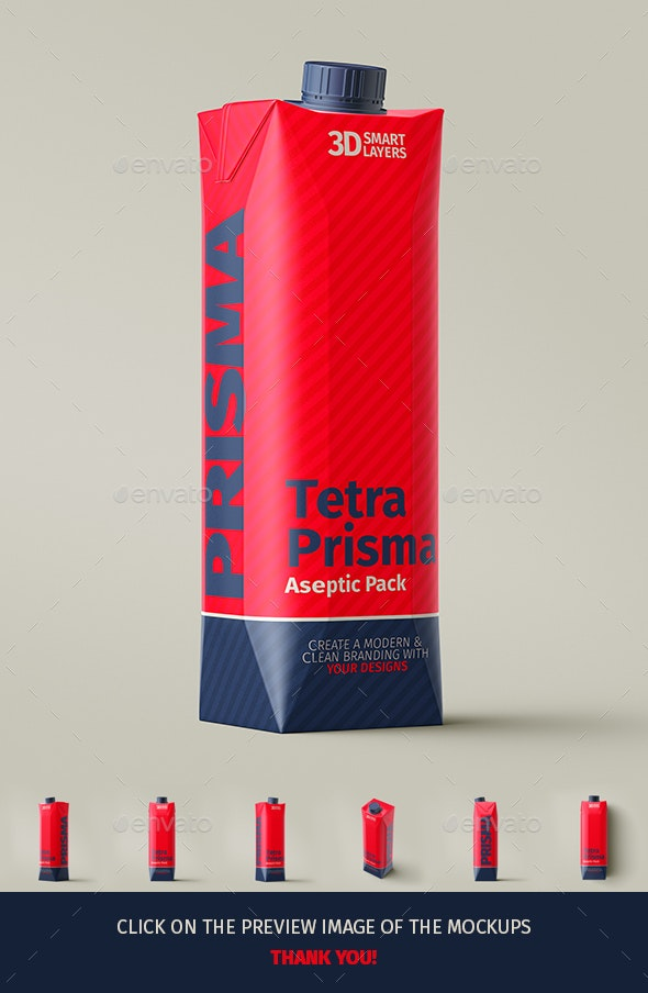 Tetra Pak. Prisma Pack (1L) Mockups - Food and Drink Packaging