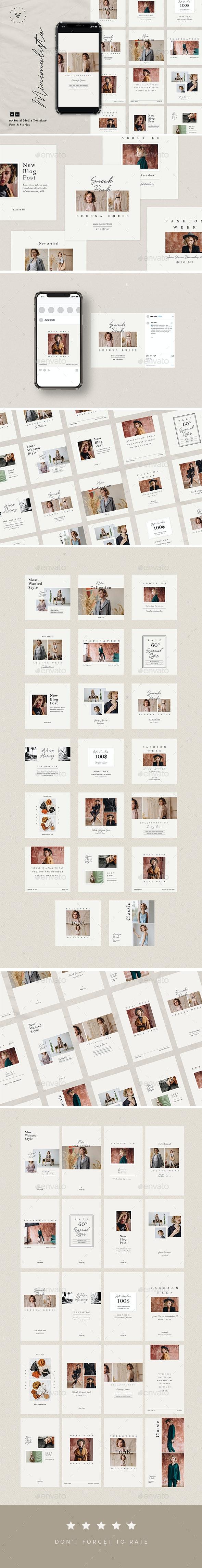 Minimalista - Instagram Stories & Post - Social Media Web Elements